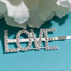 Rhinestone Words Love Silver Hair Clip